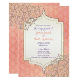 Coral Lavender Gold Moroccan Indian Engagement Invitations