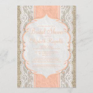 Coral Linen Burlap Lace Bridal Shower Invitations