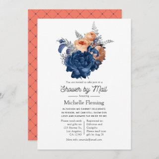 Coral, Navy and Silver Floral Shower by Mail Invitations