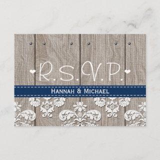 Coral Navy Blue Hydrangea Wedding RSVP Card