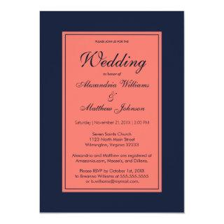 Coral navy blue modern simple Wedding Invitation