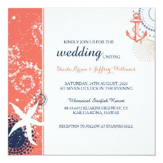 Coral Navy Blue White Nautical Wedding Invitations