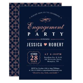 Coral & Navy | Elegant Engagement Party Invitation
