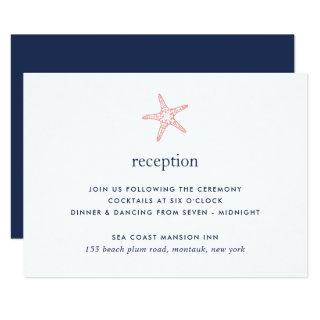 Coral & Navy Starfish Reception Card