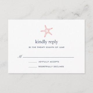 Coral & Navy Starfish RSVP Card