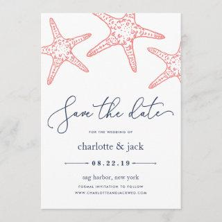 Coral & Navy Starfish Save the Date Card