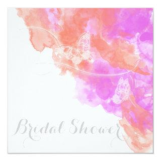 Coral Orchid Watercolor Butterfly  Bridal Shower Invitations