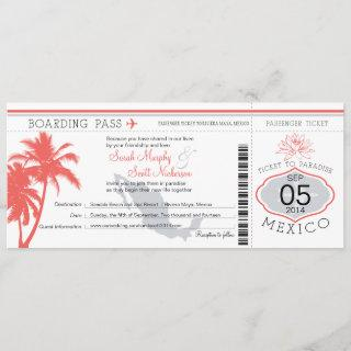 Coral Palm Tree Mexico Boarding Pass Wedding Invitations