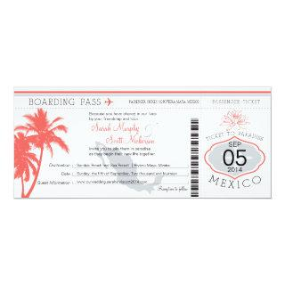 Coral Palm Tree Mexico Boarding Pass Wedding Invitation