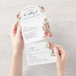 Coral Peach and Cream Floral Wedding Tear Off RSVP All In One Invitation