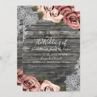 Coral Peach Roses Grey Rustic White Lace Wedding