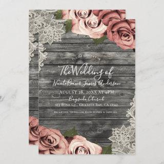 Coral Peach Roses Grey Rustic Wood Lace Wedding Invitation