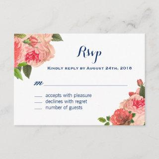 Coral Peonie on Navy RSVP Cards