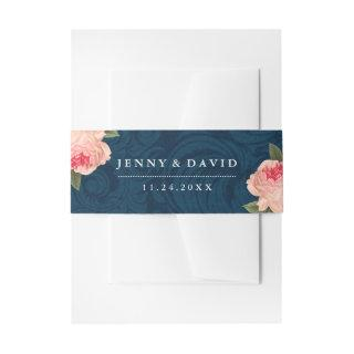 Coral Peonies and Navy Blue Belly Bands Invitations Belly Band