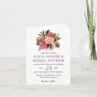 Coral pink and blush flowers bouquet wedding Invitations