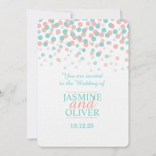 Coral pink and teal green blue wedding invites