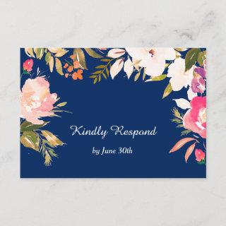 Coral Pink Floral Border Navy Blue Wedding RSVP