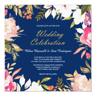 Coral Pink Floral Border on Navy Blue Wedding Invitation