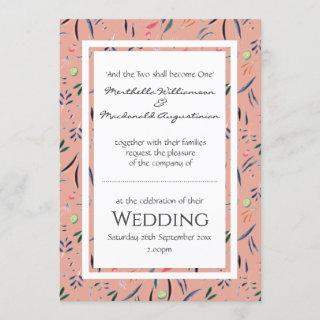 Coral Pink Personalized Floral WEDDING