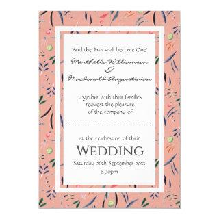 Coral Pink Personalized Floral WEDDING Invitations