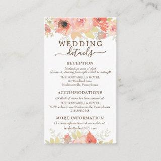 Coral Pink Roses and Gold Leaves Wedding Details Enclosure Card