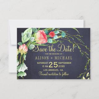 Coral red roses teal navy blue wedding save date save the date