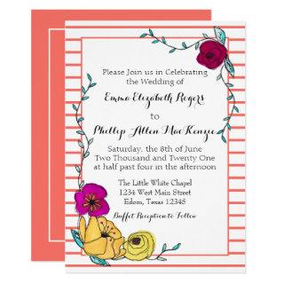 Coral Stripe Magenta Poppy Yellow Floral Modern Invitation