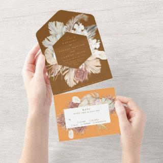 Coral Terracotta Pampas Boho Floral Desert Wedding All In One Invitations