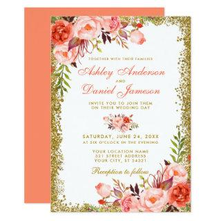 Coral Watercolor Floral and Gold Glitter Wedding Invitation