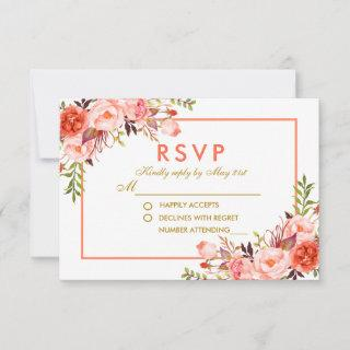 Coral Watercolor Floral Gold RSVP Wedding