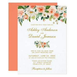 Coral Watercolor Floral Gold Wedding CB Invitations