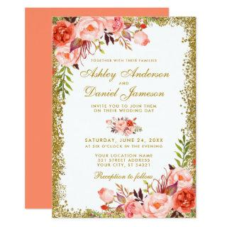 Coral Watercolor Floral  Wedding Gold Glitter Invitation