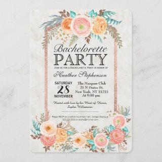 Coral Watercolor Flowers and Gold Bachelorette Invitations