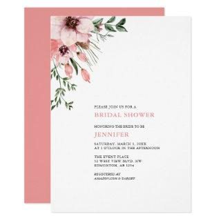 Coral Watercolor Flowers Bridal Shower Invitations