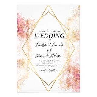 Coral watercolor geometric gold frame wedding Invitations