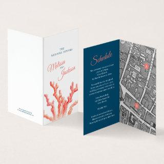 Coral watercolor wedding map details blue coral