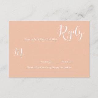 Coral Wedding Reply Card