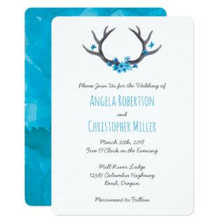 Country Antlers Blue Wedding Invitations