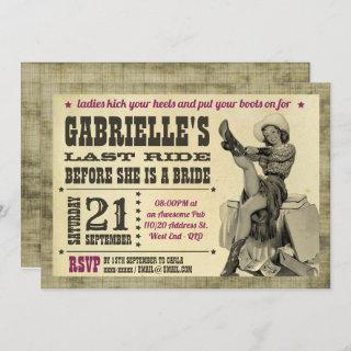 Country Bachelorette Party Pinup Cowgirl Invitations