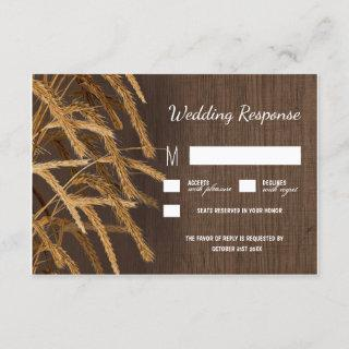Country Barn Rustic Hay Wheat Wedding RSVP Cards