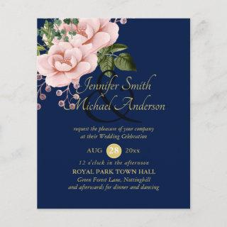 Country Blue Blush Pink Roses Wedding Ampersand