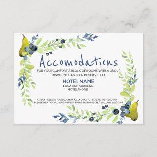 Country blueberry Summer Pear Watercolor Floral Enclosure Card