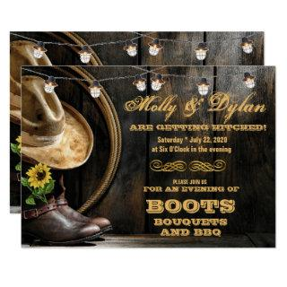 Country Boots Hat & Barn Wood Wedding Invitations
