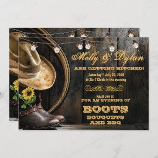Country Boots Hat & Barn Wood Wedding