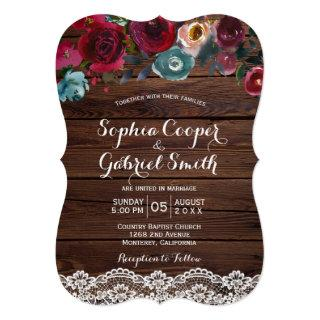 Country Burgundy Navy Floral Lace | Wood Wedding Invitations