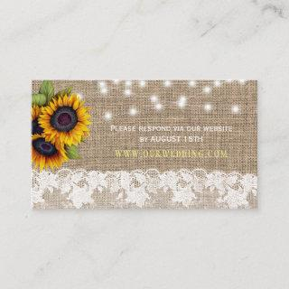Country burlap sunflowers wedding website RSVP Enclosure Card