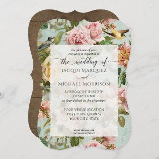 Country Chic Pink Rose Flower Rustic Wood Wedding Invitation
