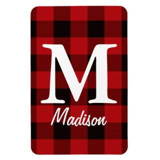 country Christmas Red buffalo plaid lumberjack Magnet