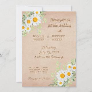 Country Daisy Spring Rustic Flower Wedding Invite