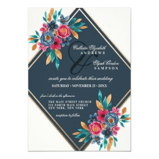 Country Fall Blue Gold Watercolor Flowers Wedding Invitations